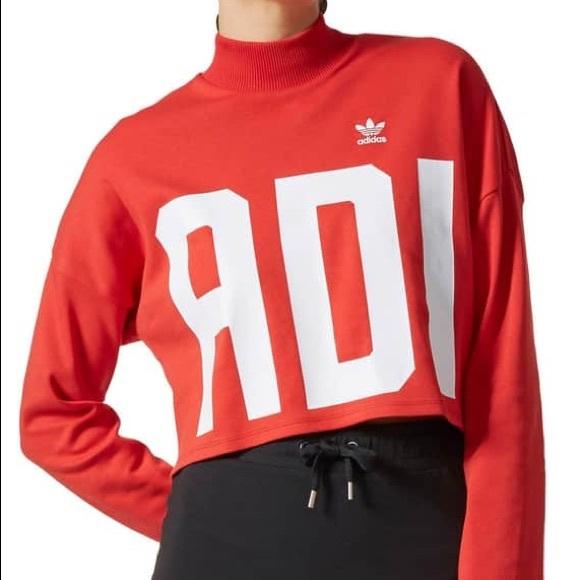 Adidas Sweatshirt Red Red Crop Nwt Adidas Sweatshirt Nwt Crop Adidas Crop 6gyvIYbf7